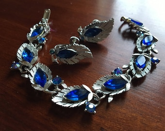 Lovely Royal Blue Lisner Rhinestone Bracelet & Earring Set