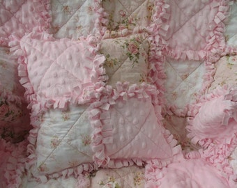 Shabby Chic Cottage Roses and Minkee Baby Girl Rag Quilt and Pillow Set