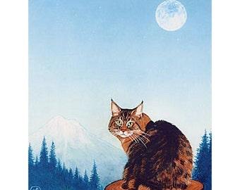 Cat art print of my original painting Pixie Bob, Pixie Bob cat from Oregon