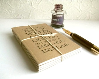 12 Notebooks - a Year's Supply! | Literary Quotes - Gift for Long Letter Writer | A6 Pocket Kraft Journal Set | Recycled Notebook Bundle