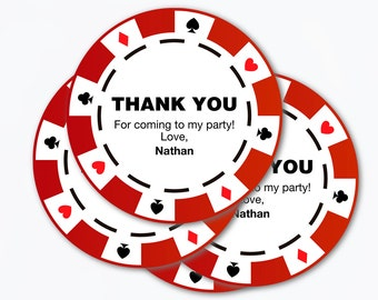poker party chips / printable pdf / thank you tags favor casino  labels theme ideas men birthday gift retirement