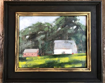 California Plein Air Landscape Oil Painting Original Art San Francisco Bay Area Rush Ranch Barns Suisun Fairfield Northern California Artist
