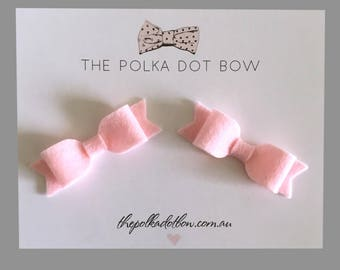 Baby Pink Felt Mini Pigtail Bows | Mini Hair Bows | Pigtail Bows | Baby Clips | Mini Bows | Pink Baby Bows | Pink Bow | Toddler Hair Clips