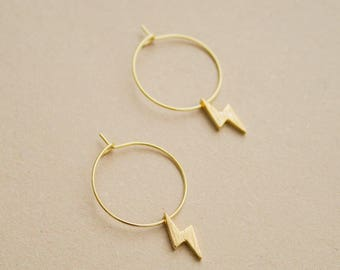 Bolt -earrings (small halo hoop earrings with thunderbolt charm minimal every day 16K gold plated)