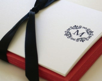 lace me up monogram notecards