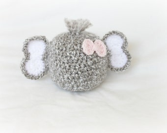 Newborn Hat - Baby Elephant Hat with Bow - You Choose Bow Color - Newborn Prop - Newborn Girl Prop -  Elephant Prop