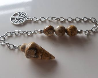 Picture Jasper Pendulum-Chain- Pagan Dowsing Witch- Spirit Communication (567)