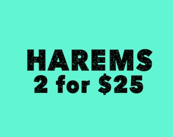 SALE Harems pants or shorts two for 25. choose fabric and size . Newborn up to 5t. 15+choices . Read description