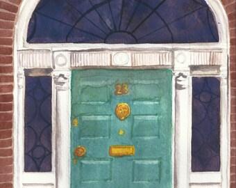 Aquarell Dublin georgischen Tür #3 Print 5 x 7