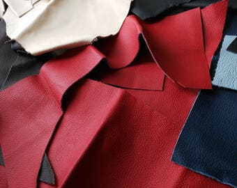 Scrap leather pieces.Leather Off Cuts, Craft Supplies, Leather Scraps, Red Leather, Black Leather, Cream Leather, Coloured Leather Mixed Bag