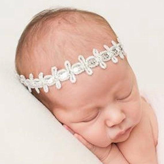 Baby Headband, Infant Headband, Silver Headband, Baptism Headband, Silver Baby Headband, Sequin Headband, Baby Headband , Halo Headband