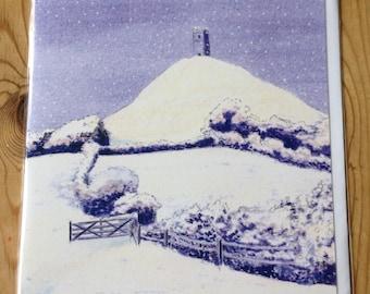 Glastonbury Tor in the snow