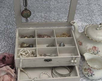 """Beige """"Shabby Chic"""" Wooden Jewelry Box with flowers"""