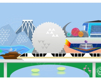 Disney Inspired Themed Art: Epcot Future World, Walt Disney World Inspired Original Design, Postcard Jpeg Digital File