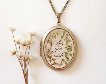 As You Wish Botanical Locket - Flowering Vine with Quote - Garden Brass Photo Locket Necklace