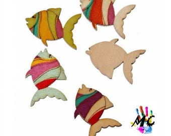set of 10 wooden fish embellishments