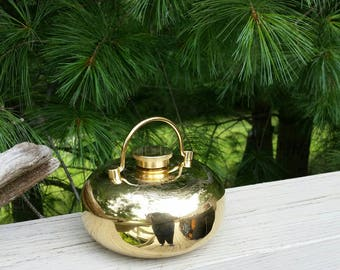 Round Etched Brass Decanter with Handle