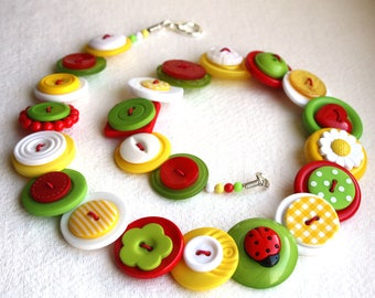 Ladybird Ladybug and Daisy Red, White, Lime Green and Yellow button necklace Button Jewellery Button Jewelry UK Handmade