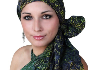 Turban Diva Mystic GreenTurban, Chemo Hat,Head Wrap, Alopecia Scarf, Batik Boho, Chemo Turban, Hat & Scarf Set