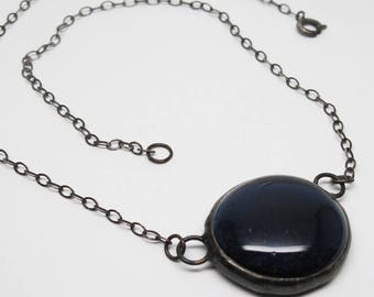 Navy Blue Droplet - Medium Stained Glass Nugget Necklace with Sterling Silver Chain