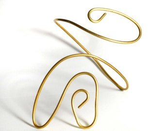 Golden metal Swirl Armband- costume arm cuff - solid brass