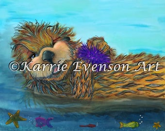 Otter art, otter watercolor painting