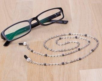 Eyeglasses lanyard - hematite cube small bead glasses chain | Eyewear neck cord | Reader gift | Sunglasses chain | Everyday eyeglass holder