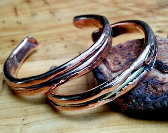 Wired Copper Cuff Bracelet.  5 X 10 mm Thick and Wide.  Copper, Bronze Inlay.