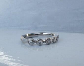 5 stone bezel set diamond ring palladium wedding or anniversary band