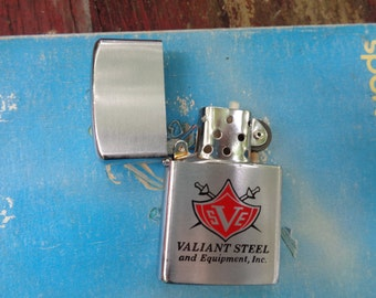 Vintage 60s 70s Valiant Steel and Equipment Inc Flip Top Metal Barlow Cigarette Lighter - Designed in Japan- Rockabilly- Man Cave- Dads day