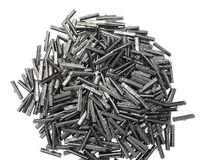500 pieces  30mm ( 1 3/16 inch ) Gunmetal Ribbon Clamp End Crimps - Artisan Series