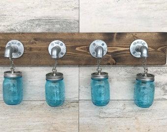 Blue Mason Jar Light, Galvanized Pipe, Vanity Light, Bathroom Fixture, Wall Light, Lighting, Pendant Light, Rustic, Industrial, Modern