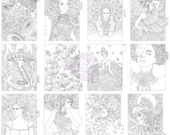Princesses My Prima Planner Coloring Tabbed Dividers A5 12/Pkg • A5 Coloring Divider (592806)
