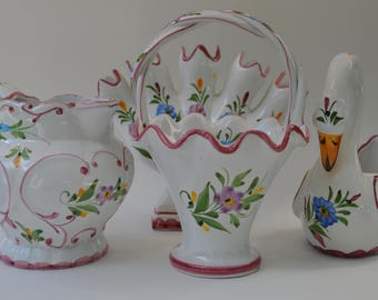set of four hand painted from Portugal red ceramic pieces