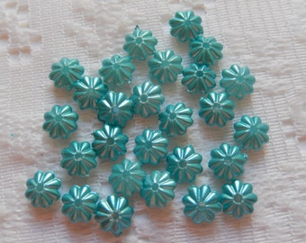 50  Aqua Green Pearl Fluted Saucer Acrylic Spacer Beads  6mm