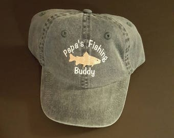 Toddler Baseball Cap Papas Fishing Buddy Baseball Cap Grandpa's Fishing Buddy Daddy's Fishing Buddy Mommy's Fishing Buddy Custom Embroidered