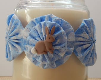 Yo Yo Candle Tie with Blue Sparkle Fabric and Grey Cottontail Bunny