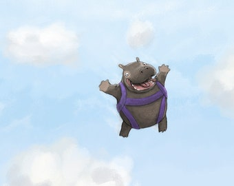Hippo Nursery Art - Skydiving Hippopotamus Art Print - Funny Children's Bedroom Wall Art