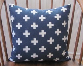 Swiss Cross Pillow Cover Navy Blue