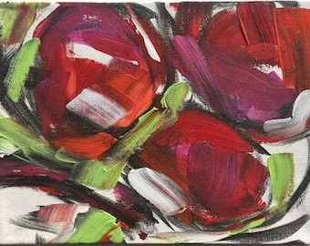 Abstract floral painting bold modern Art home decor circle flowers mixed media charcoal acrylic
