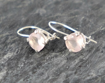 Rose Quartz Earrings, Sterling Silver Earrings, Rose Quartz jewelry Gift For Girlfriend, Love Gemstone Pink Quartz Earrings - MADE TO ORDER