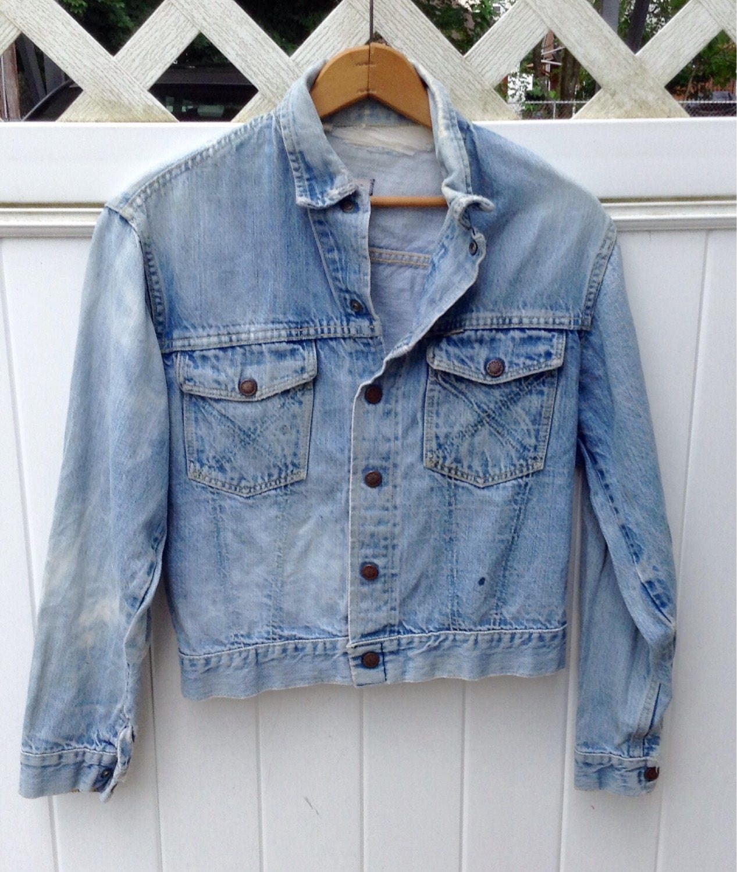 Lee Jean Jacket - Lee Rider Jean Jacket sz. Men's Small- Distressed Jean Jacket - Vintage Denim Jacket - Collectable Men's Jean Jacket- Gift 66gdMI