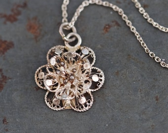 Filigree Flower Necklace - Sterling Silver Portuguese Filigree pendant and Chain