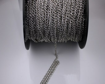 5 ft of Antique Silver plated curb chain - 5.75x3.3mm - unsoldered link
