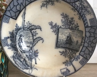 Brownhills Pottery Aesthetic Movement Large Bowl/Flow ware/Antique Bowl/Aestheticware/Blue transferware/Uk antique English ware/Brownhills