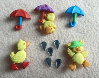 PUDDLE JUMPERS ~ Dress It Up Buttons ~ Puddle Jumpers ~ 3 Ducklings ~ 3 Umbrella's ~ Raindrops