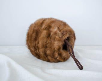 mink fur muff | vintage 1950s mink fur muff
