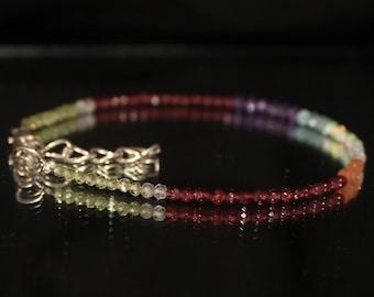 Peridot, Labradorite, Rhodolite Garnet,Amethyst, Apatite, Opal, Sunstone Bracelet, Bohemian Bracelet, Boho Bracelet, Skinny Bracelet 0032