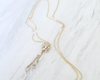 Vintage Opera Necklace   Crystal and Rhinestone   Tassel