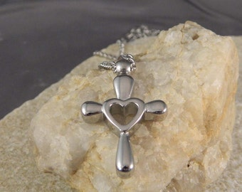 Stainless Steel Cross Heart Necklace
